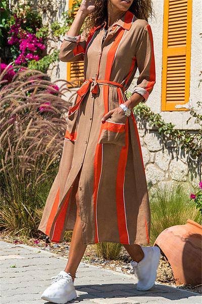 Casual Printed Lapel Long Sleeve Maxi Dress