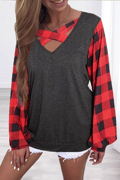 V Neck Plaid Long Sleeve T-Shirt