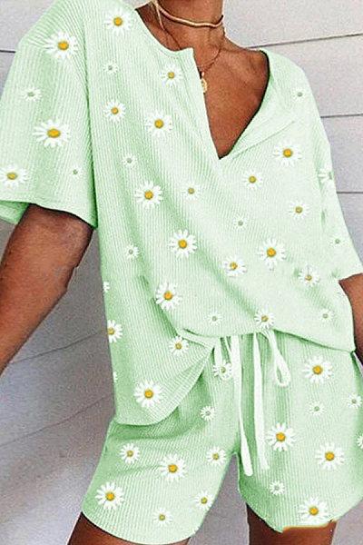 Fashion V-Neck Daisy Print Set
