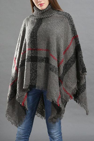 High Neck  Asymmetric Hem Poncho  Gingham Outerwear