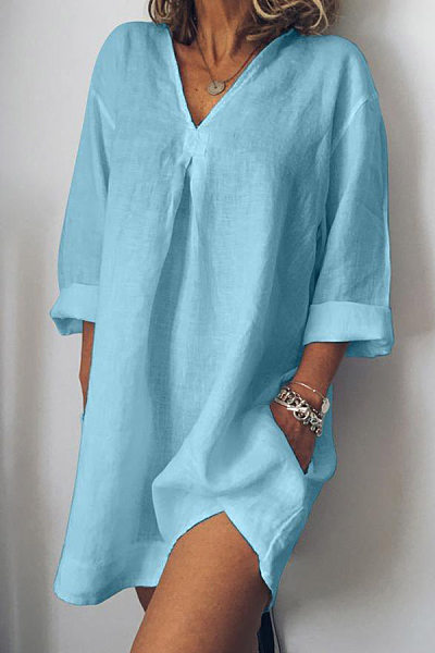 V-Neck  Linen Plain Shift Dress