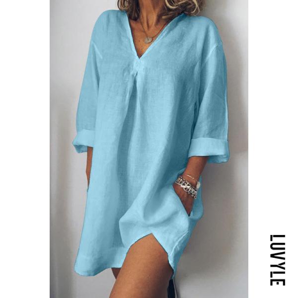 Blue V-Neck Linen Plain Shift Dress Blue V-Neck Linen Plain Shift Dress