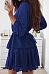 Round Neck  Flounce  Plain  Long Sleeve Skater Dresses
