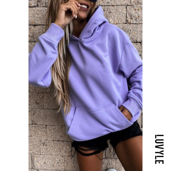 Purple Solid Color Loose Casual Hoody Purple Solid Color Loose Casual Hoody