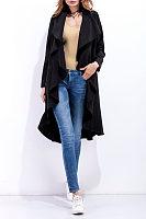 Fold Over Collar  Asymmetric Hem Snap Front  Plain Outerwear