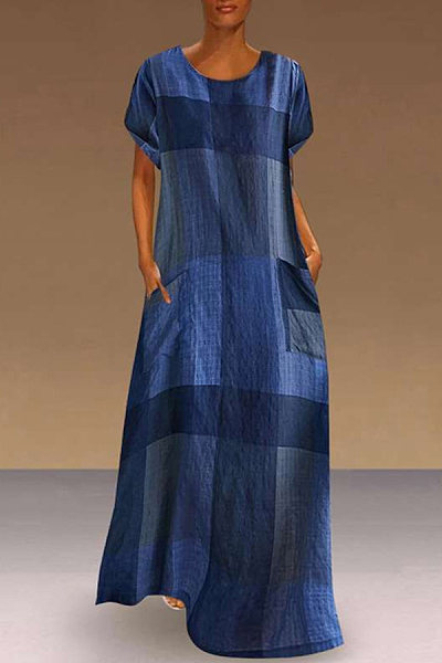Retro Plaid Cotton And Linen Midi Dress