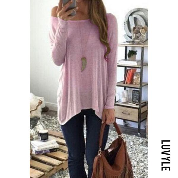Pink Round Neck Asymmetric Hem Plain T-Shirts Pink Round Neck Asymmetric Hem Plain T-Shirts