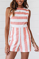 Round Neck Sleeveless Striped Jumpsuit