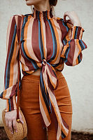 High Neck  Striped  Lantern Sleeve  Blouses