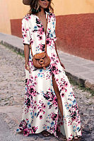 Sexy White Floral Print Short Sleeves Maxi Dress