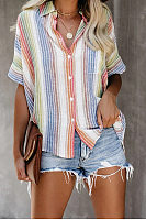 A Lapel Short Sleeve Coloring Striped Blouse