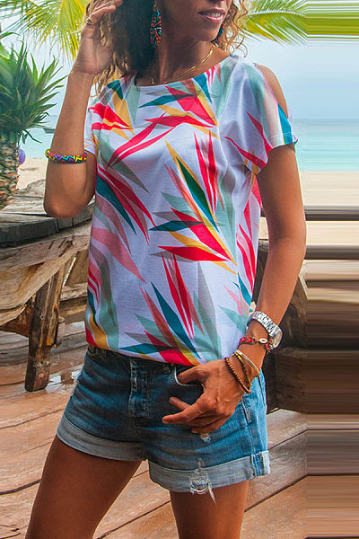 Round Neck Short Sleeve Printed Casual T-Shirts