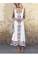 Sexy V Neck Floral Printed Tassel Sleeveless Maxi Dress
