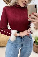 Short High Collar Long Sleeve Plain Sweater