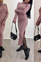 High Neck  Side Slit  Plain  Long Sleeve Maxi Dresses
