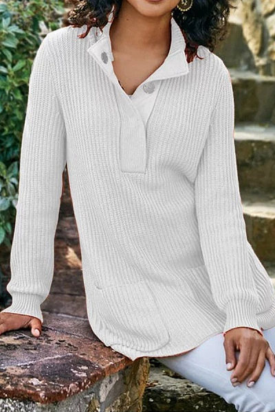 Buckle Collar Plain Long Sleeve Sweater