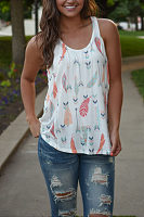Round Neck  Racerback  Printed  Vests