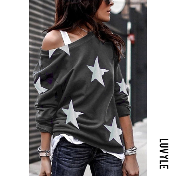 Gray Open Shoulder Stars Printed T-Shirts Gray Open Shoulder Stars Printed T-Shirts