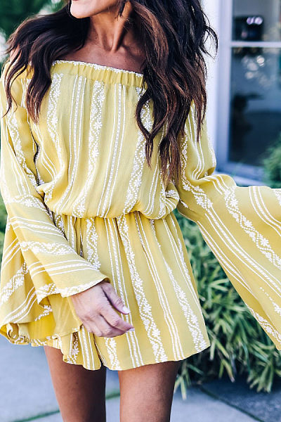 Off Shoulder  Striped  Bell Sleeve  Long Sleeve Casual Dresses