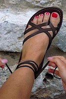 Plain  Flat  Peep Toe  Outdoor Flat Sandals