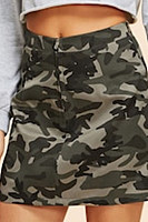 High Waist Camouflage Printed Casual Skirts
