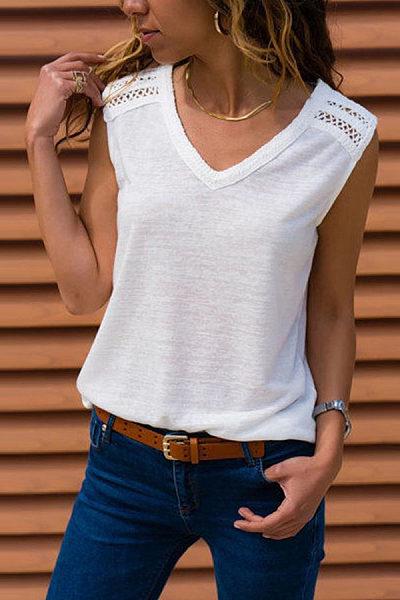 V Neck Sleeveless Lace Patchwork T-Shirts