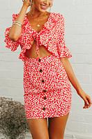 Deep V Neck  Bust Darts  Print  Bell Sleeve  Half Sleeve Bodycon Dresses