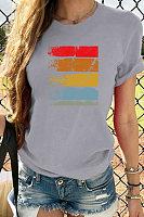 Retro multicolor graffiti print casual T-shirt