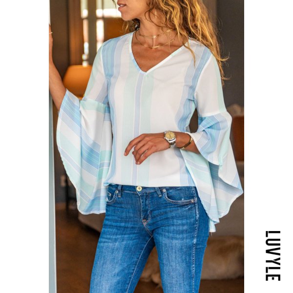 Fashion V-neck Casual Striped Stitching Long-sleeved Shirt