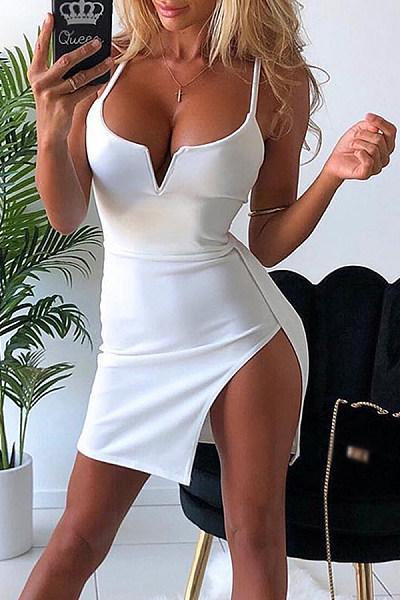 Sling Deep V-Neck Sexy Bag Hip   Mini Dress