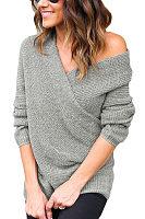 Surplice  Plain  Batwing Sleeve Sweaters