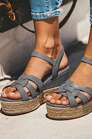 Plain  Peep Toe  Date Travel Wedge Sandals