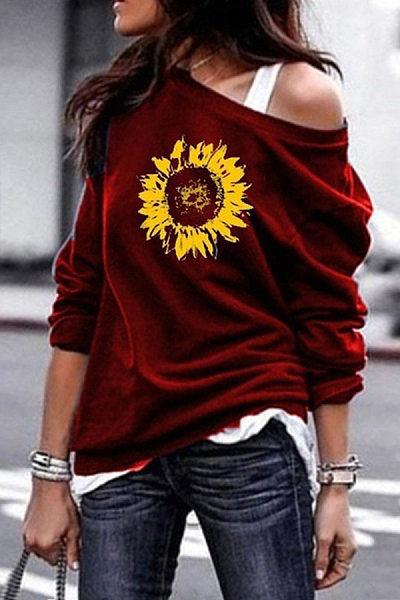 Open Shoulder Floral Printed T-Shirts