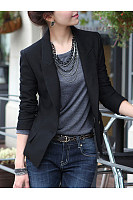 Basic Black Notch Lapel Single Button Blazer