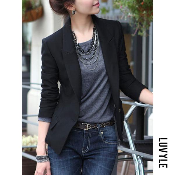 Basic Black Notch Lapel Single Button Blazer