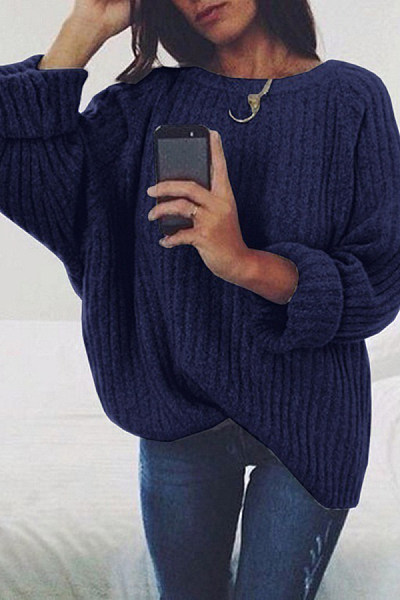 Round Neck Loose-Fitting Plain Sweater