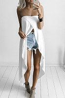 Strapless  Asymmetric Hem  Plain Vests