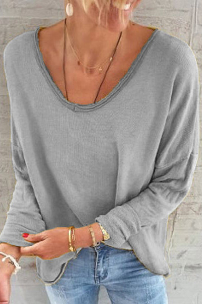 Solid V Neck Loose Sweatshirt