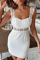 Fashion Suspenders Stitching   Lace Cutout Mini Dress