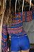 V Neck Tribal Printed Long Sleeve Blouses