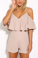 Zipper  Tiered  Plain  Playsuits
