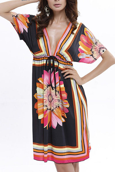 Deep V Neck  Drawstring  Printed  Batwing Sleeve  Short Sleeve Casual Dresses