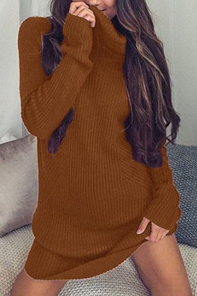 Knit High Neck  Plain Casual Dresses