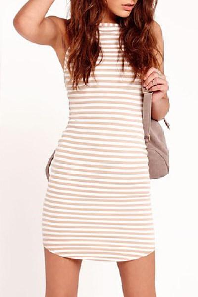 Spaghetti Strap Curved Hem Striped Casual Dress