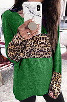 Casual Fashion Leopard Splicing Long Sleeve T-Shirt