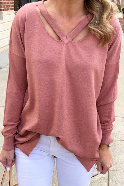 Leisure pure color V-collar hollowed-out sweater