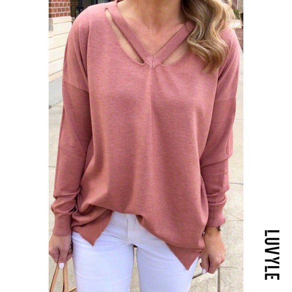 Leisure pure color V-collar hollowed-out sweater - from $27.00