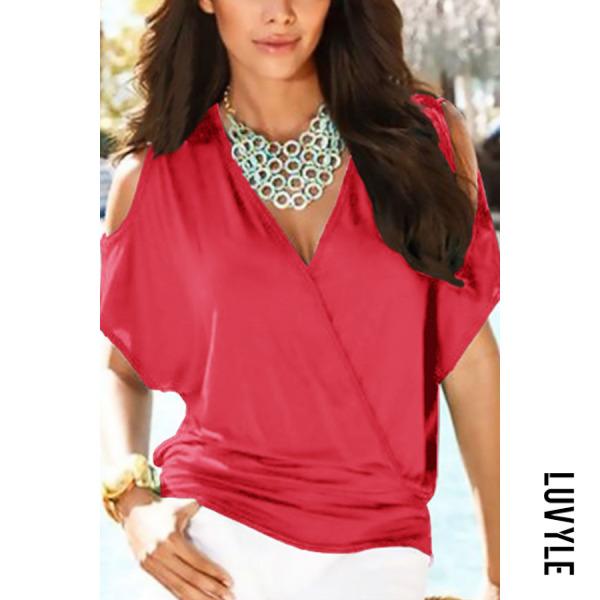 Red Open Shoulder V Neck Plain T-Shirts Red Open Shoulder V Neck Plain T-Shirts
