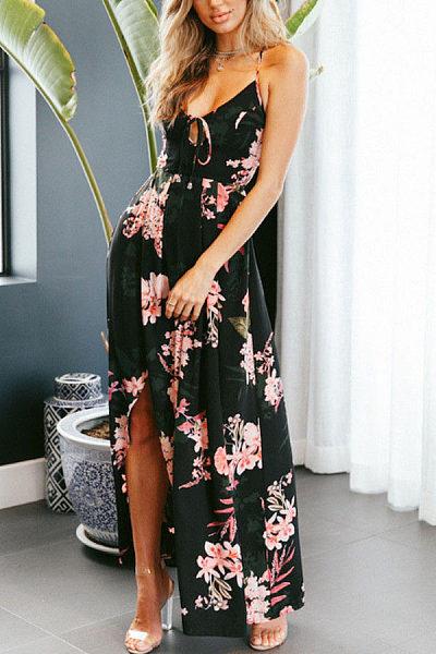 China Halter Asymmetric Hem Printed Flared Casual Dress natural fiber womens zionsville