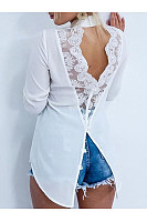 Open Back Lace Stitching Lapels   Long Sleeved Irregular Chiffon Blouses
